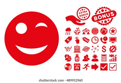 Wink icon with bonus pictogram. Vector illustration style is flat iconic symbols, red color, white background.