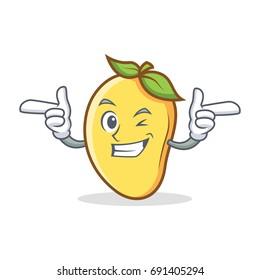 Wink mango character cartoon mascot vector illustration