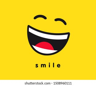 Wink smile icon template design. Smiling emoticon vector logo on yellow background. Emoji illustration line art style. World Smile Day banner