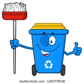 Winking Blue Recycle Bin Cartoon Mascot Character Holding A Broom And Giving A Thumb Up. Vector Illustration Isolated On White Background