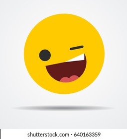 Winking emoticon in a flat design