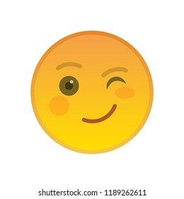 Winking emoticon isolated on white background. Happy yellow emoji symbol. Social communication and internet chatting vector element. Blinking smile face with facial expression in flat style.