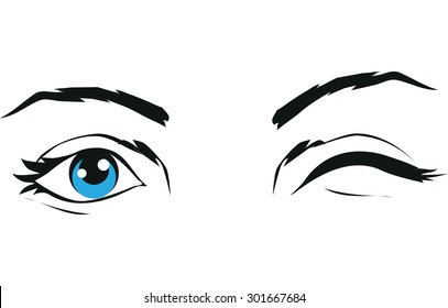 eye wink images stock photos vectors shutterstock rh shutterstock com Winking Eye Drawing Large Winking Eye Clip Art