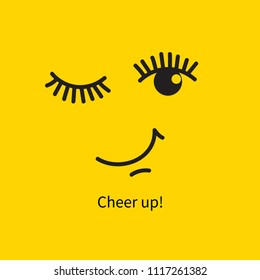 Winking face, card with smile and wish to cheer up! Vector illustration
