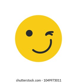 Winking Face Emoji vector illustration.