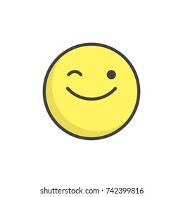 Winking face emoticon filled outline icon, line vector sign, linear colorful pictogram isolated on white. Emoji smiley symbol, logo illustration. Pixel perfect vector graphics