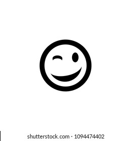 Winking Face Eye vector illustration black smiley emoji emoticon sticker black icon symbol