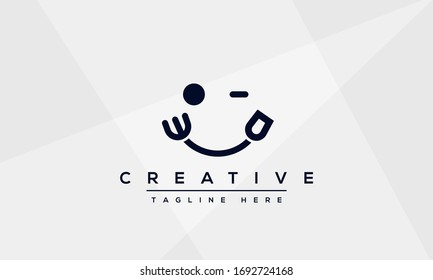 Winking Face Food logo vector icon. Fork and Spoon smile concept line art illustration.