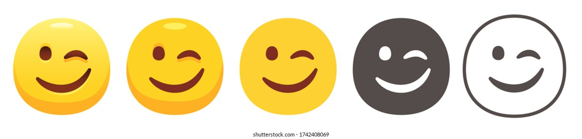 Winking Face. Funny yellow emoji icon, eye wink emoticon with smiling lips flat vector icons set