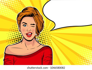 Winking girl. Cartoon comic vector illustration in pop art retro style. Vintage advertising poster. Birthday greeting card or Party invitation. Hollywood movie star.