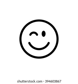 Winking line smiley. Thin line smile emoticons isolated on a white background. Vector illustration