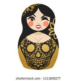 Winking matryoshka doll with lace skull on dress. Vector illustration