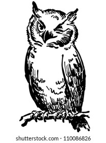 Winking Owl - Retro Clipart Illustration