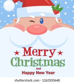Winking Santa Claus Cartoon Character Face Portrait. Vector Illustration Flat Design With Background  And Text Merry Christmas