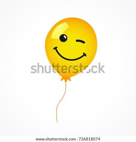Winking Smile Of Yellow Helium Balloon On White Background Emoji For Happy