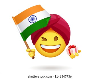 Winking smiley for Indian Independence Day. Emoji of Hindu in the red ethnic turban holds a gift box. Funny chat character waving a flag of India with Ashoka chakra wheel. Yellow vector emoticon.