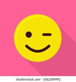 Winking smiling emoticon icon. Flat illustration of winking smiling emoticon vector icon for web