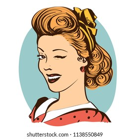 Winking young woman in retro clothes.Vector vintage portrait isolated on white