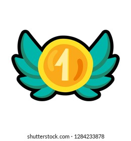 Winner award cartoon color illustration. Number one clipart. Champion hand drawn sticker, patch