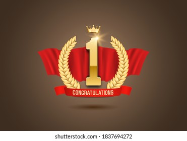 Winner award. Number one. Golden laurel wreath with crown and red ribbon. Vector illustration.