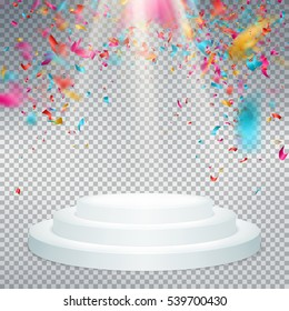 Winner background with confetti on round pedestal isolated on transparent. Poster or brochure template. EPS 10 vector file included