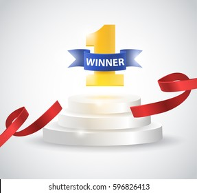 Winner background with red ribbon, on round pedestal isolated on white. Poster or brochure template. Vector illustration.