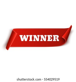 Winner Banner. Red curved ribbon isolated on white background. Vector illustration