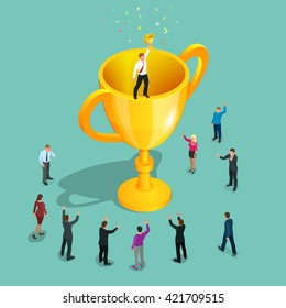 Winner business concept. Business success. Big trophy for micro businessmen. Flat 3d isometric vector illustration. For infographics and design.