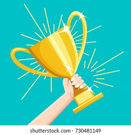 Winner business goal achievement vector concept, flat style happy successful businessman holding golden cup award in hand, leadership idea, first place prize victory, competition.