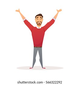 Winner business man celebrating victory. Happy manager in smart casual wear standing and gesturing. Everyday successful worker with arms up. Isolated on white