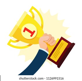 Winner. Businessman hand holding gold cup. First place trophy cup. Business vector illustration, concept, flat.