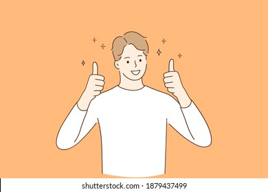 Winner, cheerful mood and thumbs up concept. Young smiling man wearing casual clothes cartoon character standing and showing thumbs up positive gesture with hand vector illustration