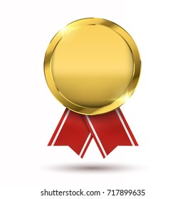 Winner concept. Blank golden medal isolated on white. Vector prize or trophy.