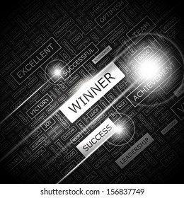 WINNER. Concept vector illustration. Word cloud with related tags and terms. Graphic tag collection. Wordcloud collage.