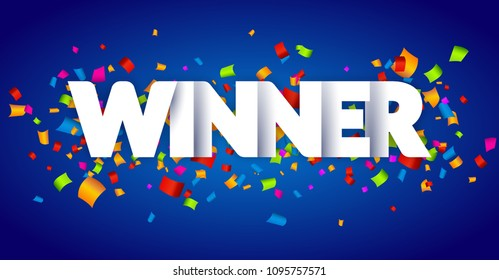 Winner Congratulations confetti triumph banner. Victory success letters with winner background design.