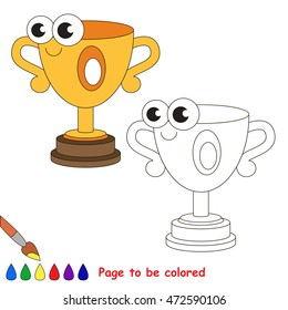 Winner cup to be colored. Coloring book to educate kids. Learn colors. Visual educational game. Simple level. Coloring pages.