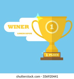 Winner cup flat design - trophy - first place