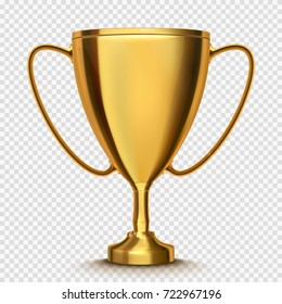 Winner cup isolated. Golden trophy on transparent background. Vector illustration.