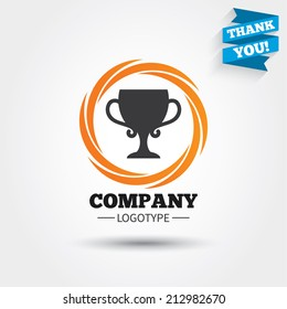 Winner cup sign icon. Awarding of winners symbol. Trophy. Business abstract circle logo. Logotype with Thank you ribbon. Vector