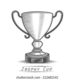 Winner cup vintage tattoo. Vector illustration