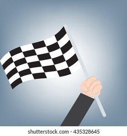 winner finish flag in business man hand, achievement success concept, illustration vector in flat design