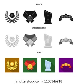 Winner for the first place in the competition, a crystal prize, a ribbon with the stars, a medal on the red ribbon.Awards and trophies set collection icons in black, flat, monochrome style vector