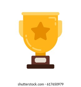 Winner flat icon illustration. Vector champion trophy Cup. Symbol of success, winning, championship.
