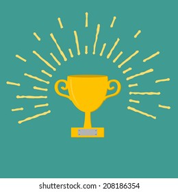 Winner gold cup trophy. Award symbol in flat design style. Ray of lights. Vector illustration