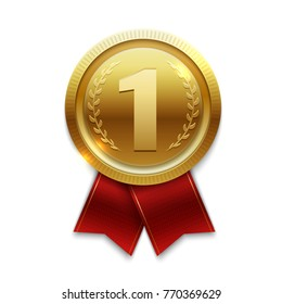 Winner gold medal with red ribbons. Vector illustration