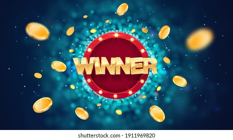 Winner gold text on retro red board vector banner. Win congratulations in frame illustration for casino or online games. Explosion coins  on dark blue background with blur motion effect
