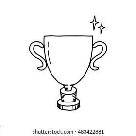 Winner Gold Trophy Doodle. A hand drawn vector doodle illustration of a winner trophy.
