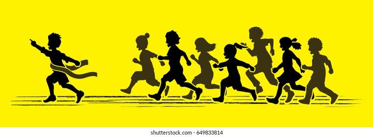 The winner Group of children running marathon, little boy and girl playing together, team work , Friendship graphic vector