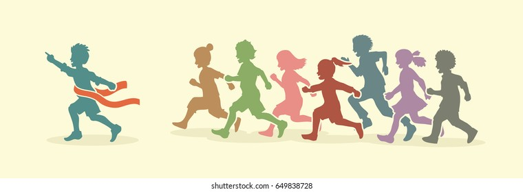 The winner Group of children running marathon, little boy and girl playing together, team work , Friendship designed using vintage colors graphic vector