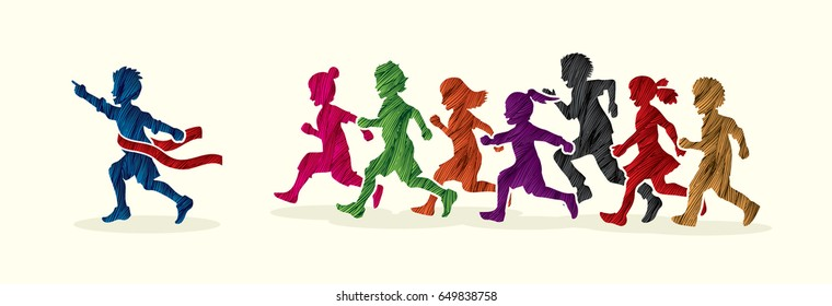 The winner Group of children running marathon, little boy and girl playing together, team work , Friendship designed using colorful grunge brush graphic vector